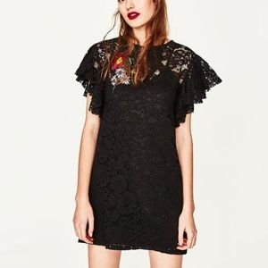 Zara Trafaluc Lace Dress with Floral Patch
